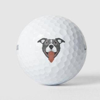 Pelotas De Golf Perro Pitbull sonriente del ilustracion