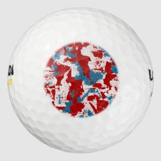 Pelotas De Golf Pinceladas rojas, blancas y azules