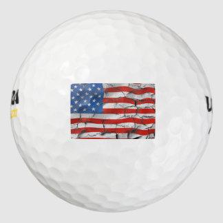 Pelotas De Golf Pintura llevada agrietada patriótica de la bandera