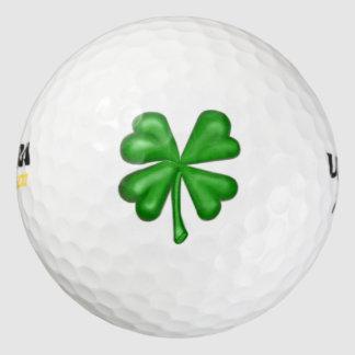 Pelotas De Golf Trébol del trébol de la hoja del verde cuatro