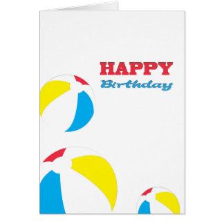 Pelotas de playa del feliz cumpleaños tarjeta de felicitación