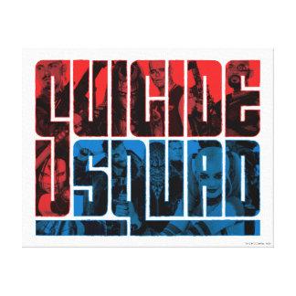 Pelotón del suicidio logotipo rojo y azul del | lona envuelta para galerías