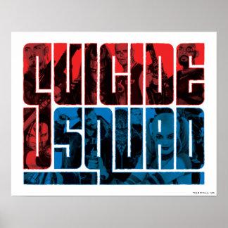 Pelotón del suicidio logotipo rojo y azul del | póster