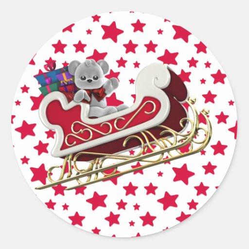 Peluche del trineo del navidad etiquetas redondas
