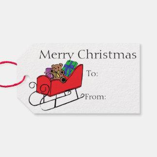 Peluche y trineo de las Felices Navidad Etiquetas Para Regalos