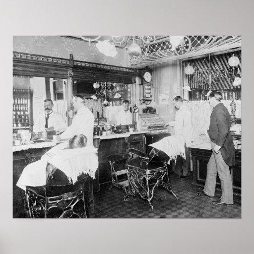 Peluquería de caballeros de New York City, 1895 Posters