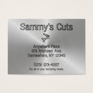 Peluquería de caballeros de plata de acero de la tarjeta de visita