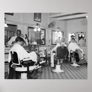 Peluquería de caballeros del capitolio, foto 1938 póster