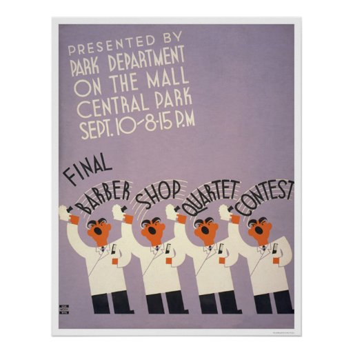Peluquería de caballeros del Central Park WPA 1937 Poster