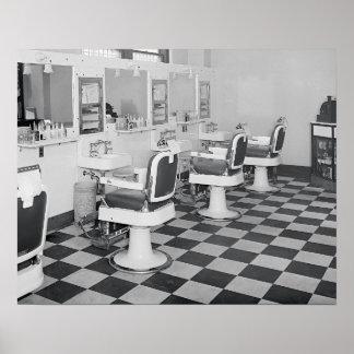 Peluquería de caballeros ejecutiva, 1935. Foto del Póster