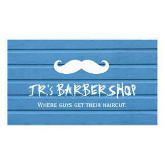 Peluquería de caballeros - madera y bigote azules tarjetas de visita