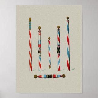 Peluquería de caballeros postes del vintage póster