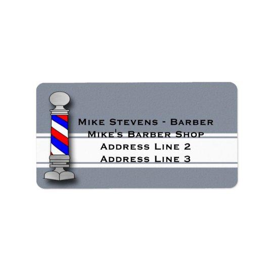 Peluquero, etiquetas de dirección de la peluquería