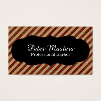 Peluquero profesional rayado rojo y del moreno tarjeta de negocios
