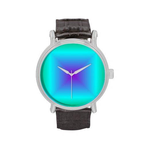 Pendiente cuadrada - verde, ciánico, violeta relojes