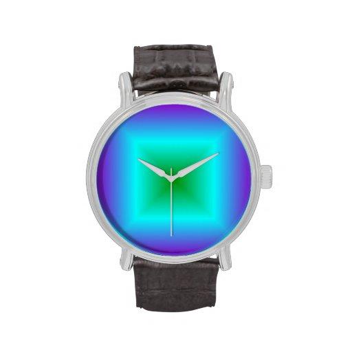 Pendiente cuadrada - violeta, ciánico, verde relojes