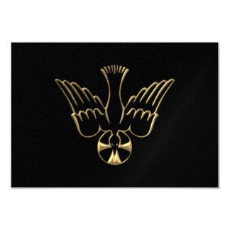 Pendiente de oro del símbolo del Espíritu Santo Invitación 8,9 X 12,7 Cm