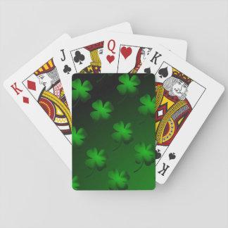 Pendiente del trébol de cuatro hojas baraja de cartas