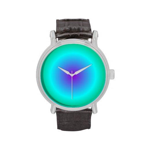 Pendiente radial - verde, ciánico, violeta reloj de mano