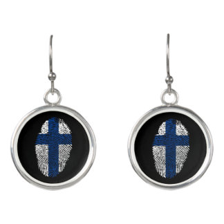 Pendientes Bandera finlandesa de la huella dactilar del tacto