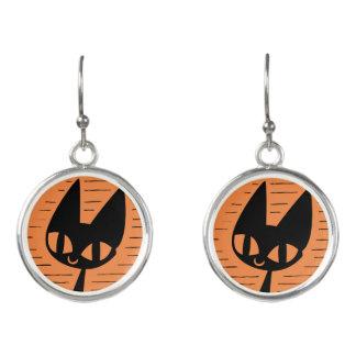 Pendientes Camafeo del gato negro de Halloween