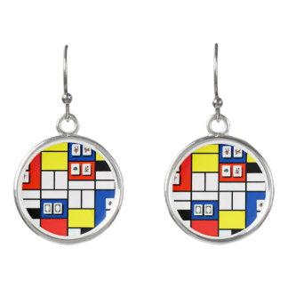 Pendientes del estilo del Mah Jongg Mondrian