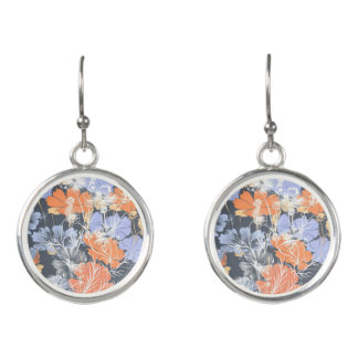 Pendientes Estampado de flores anaranjado violeta gris del