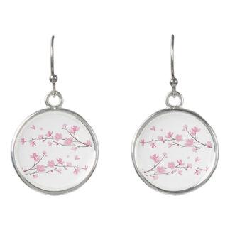 Pendientes Flor de cerezo - fondo transparente