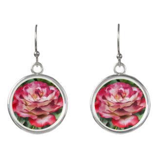 Pendientes Floración color de rosa rosada