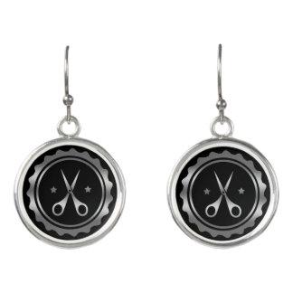 Pendientes Logotipo negro y de plata del círculo y del