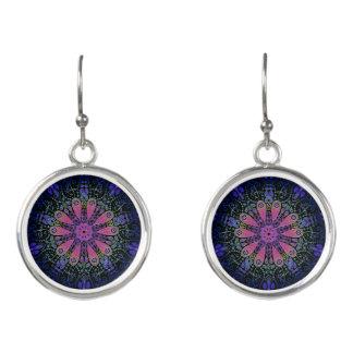 Pendientes Mandala floral rosada azul púrpura del cordón