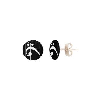 Pendientes Oído-Perno prisionero enojado del Clef bajo (fije