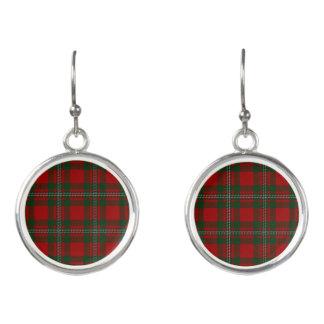 Pendientes Tela escocesa de tartán verde roja de Gregor