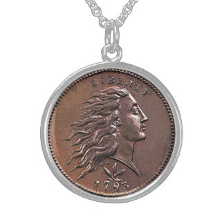 Penique raro de los 1793 E.E.U.U. Collar De Plata Esterlina