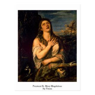 Penitent St Mary Magdalena por Titian Postal