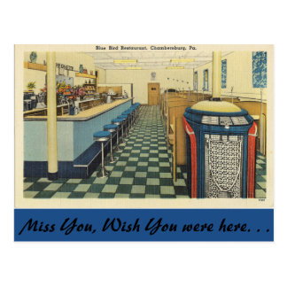 Pennsylvania, restaurante azul del pájaro, postal