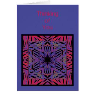 Pensamiento abstracto azul rojo en usted plantilla tarjeta de felicitación