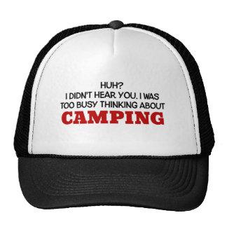 Pensamiento demasiado ocupado en acampar gorro de camionero