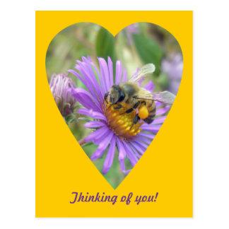 Pensamiento en usted abeja en corazón de los aster postal