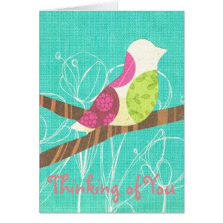 Pensamiento en usted collage del pájaro cantante tarjeta