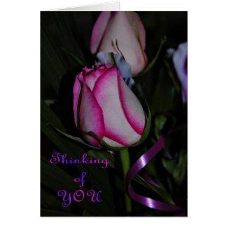 Pensamiento en usted. Color de rosa rosado. Flor Tarjeta De Felicitación