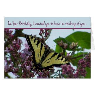 Pensamiento en usted en su cumpleaños tarjeta de felicitación