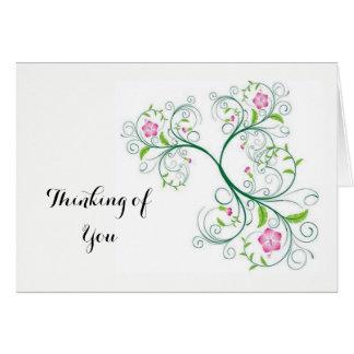 Pensamiento en usted nota de la postal tarjeta pequeña