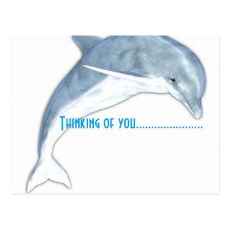 Pensamiento en usted postal de la moda del delfín