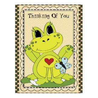 Pensamiento en usted postal de la rana del país