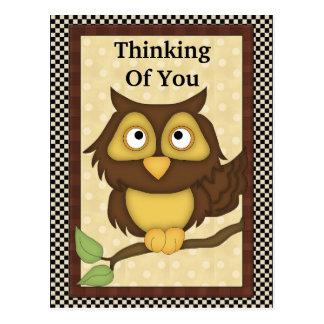 Pensamiento en usted postal del búho