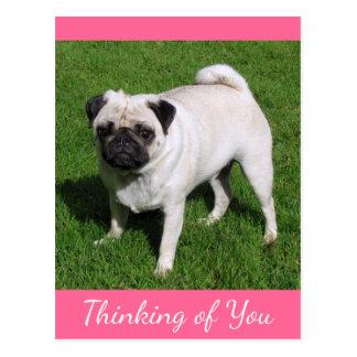 Pensamiento en usted postal del perro de perrito d