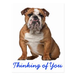 Pensamiento en usted postal inglesa del perro de