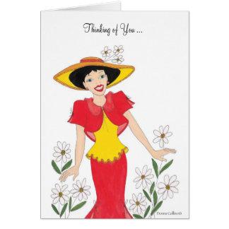 Pensamiento en usted rojo y amarillo tarjeta de felicitación