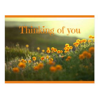 Pensamiento en usted tarjeta de felicitación de la